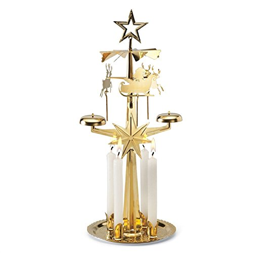"""Lichter Glockenspiel Pyramide mit 4 Kerzen, Weihnachtsdeko, Motiv """"Weihnachtsmann"""", Messing"""