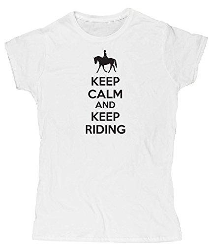 Hippowarehouse Keep Calm and Keep Riding Damen Fitted Short Sleeve T-Shirt (bestimmte Größenangaben in der Beschreibung) Gr. X-Large, Weiß (Cowgirl T-shirt Fitted)