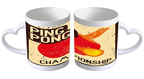 LEotiE SINCE 2004 Kaffeetasse mit Herzgriff Kaffeebecher Becher Tasse Mit Fotodruck Fototasse Sport Tischtennis Herz Griff