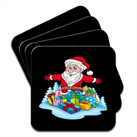Papá Noel regalos abundancia! Juego de 4 posavasos de madera