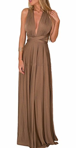 Emma Femme Sexy V-Col Jabot Robe Soirée Convertible Dos Nue Cocktail Robe Longue Bandage Bridesmaid Elegant Dress Skirt Long?BR,S?