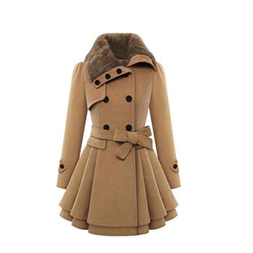 Leey Damen Kleider Jacke Mantel Winterkleider Wintermantel Winterjacken Wollmantel Lange Warm Winterkleid Petticoat Mit Fell Tailliert Bekleidung...