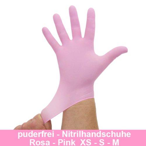 Nitrilhandschuhe Pink Rosa, Einmalhandschuhe, Einweghandschuhe, 100 Stück, Größe M