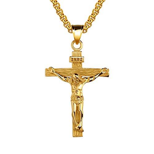 UM Schmuck katholisch Jesus Christus auf INRI Kreuz Anhänger Edelstahl Kruzifix Halskette 55cm Kette