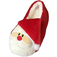 Tootsies Ladies Womens Girls Red Novelty Festive Santa Claus Rudolph Reindeer Christmas Slippers with Fur Fleece Lining