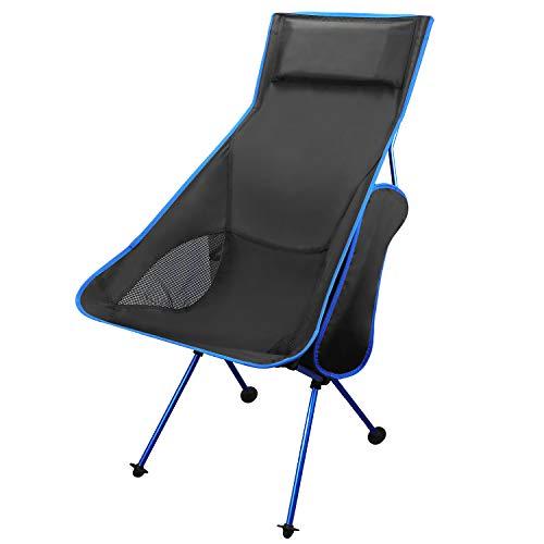 Coolty Leichte Tragbare Campingstuhl Outdoor Klapp Rucksack Camp Lounge Stühle mit Kopfstütze für Sport Picknick Strand Wandern Angeln (Königsblau)