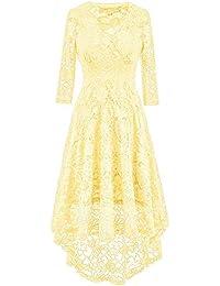 448b4ecd2f5 Women Lace Dress Vintage 50 s Retro 3 4 Sleeve Floral Swing Party Cocktail  Wedding Midi