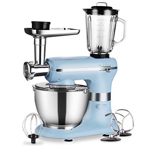Küchenmaschine -- 1200W 3 in 1 Elektrischer maschine - mit 5,0 Liter Schüssel in Lebensmittelqualität, Rühraufsätzen, Fleischwolf und Mixer - 5 Geschwindigkeiten mit Impulsfunktion - Hellblau