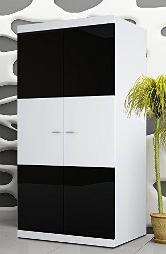 Wohnwand Anbauwand 6446 weiß / schwarz Hochglanz inkl. LED Beleuchtung - 4