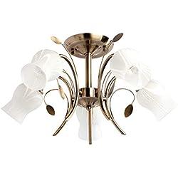 DeMarkt 256018205 Araña Rústica de Metal Color Dorado Antigua en Vidrio Blanco en Salón Sala O Dormitorio E14 5 x 60W
