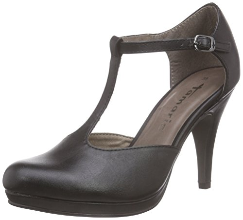 Tamaris 24428, Damen T-Spangen Pumps, Schwarz (Black Matt 015), 40 EU