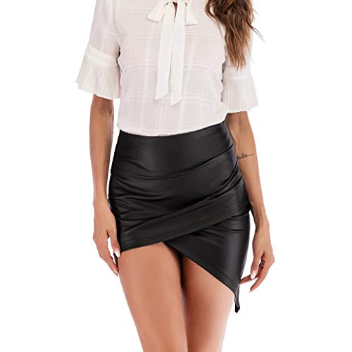 HCFKJ Faldas Mujer Cortas SeñOras De Las Mujeres Cintura Alta LáPiz Envoltura Falda Bodycon Mini Falda De Cuero Club