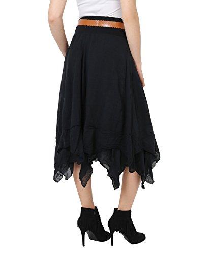 KRISP® Femmes Maxi Jupe Uni Bohème Hippie Chic Noir (7847)
