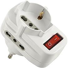 Electraline 71033 Adattatore Multipresa tripla con Interruttore, Spina Rotante, Bianco