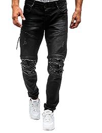 41bbf6b56cb39 WSLCN Homme Stretch Jeans Destroy Biker Déchiré Trou Denim Pantalons Skinny  Jeans Basique Pantalons Streetwear Slim