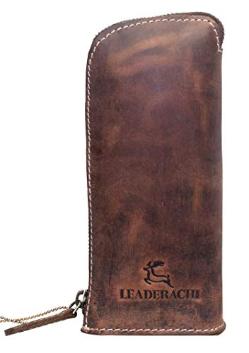 Leaderachi 100% Genuine Vintage Hunter Leather Utility Bag Pen Pencil Utensil Pouch & Stand for Multi Use