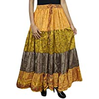 Mogul Interior Womens Maxi Skirt Boho Sari Orange Belly Dance Tiered Flare Skirts OneSize