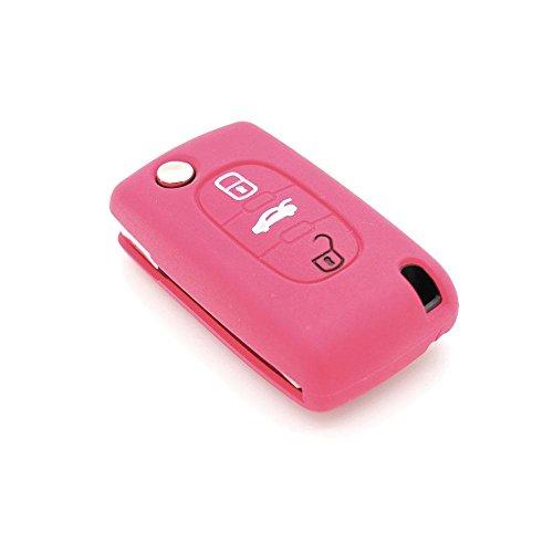 REFURBISHHOUSE Etui a cles a 2 touches Etui de cle a distance Coque de protection a 2 touches pour le cle de voiture Housse de cle en silicone convient pour la voiture Peugeot 206 207 307 308 Couleur
