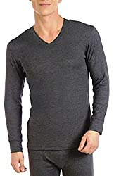 Alfa Mens Thermal V-neck Top(AMLTVNU95_Assorted Color_X-Large)