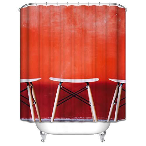 Aienid Bad Vorhang Antischimmel Stuhl Rot Wasserdicht Duschvorhang Size:150X180CM