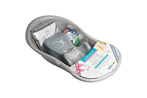 Tega Baby ® SET 5-teilig Badewanne Badesitz für Baby, ab 0 Monate mit eingebautem Thermometer - Anti-rutsch, GESCHENK für Neugeborene (Schlaue Eule GRAU)