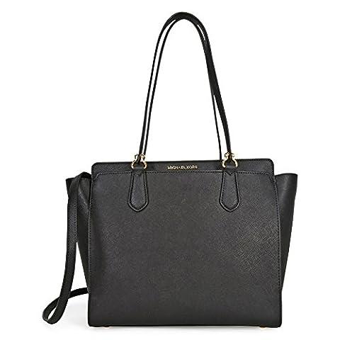 Michael Kors Women's Large Dee Dee Convertible Leather Shoulder Bag Tote - Black