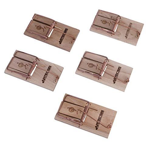 ARTECSIS 5er Pack mit klassischen Mausefallen aus Holz, Schlagfalle, Schnappfalle, wiederverwendbar, hohe Schlagkraft, innen anwendbar