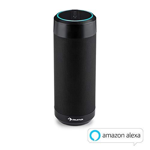 auna Intelligence Tube • Bluetooth-Lautsprecher • Bluetooth Speaker • Akku • Alexa Voice Service • Sprachsteuerung oder App-Control • IPX4 spritzwassergeschützt • WLAN • Leistung: 6 Watt RMS • schwarz