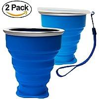Tazas de Silicona Plegable, Copa de viaje plegable, 230 ml Grado de comida Copa plegable de Taza de café Portable del viaje Para senderismo Cámping Deportes al aire libre Tapa caliente incluida (Azul * 2)
