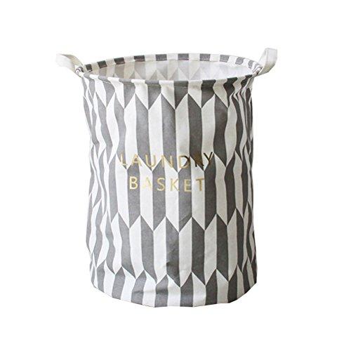 Inwagui Wäschekorb Baumwolle Folding Wäschekorb Wäschesack Ablagekorb Wäscherei Storage Basket Einfach Wäscheeimer-Grau