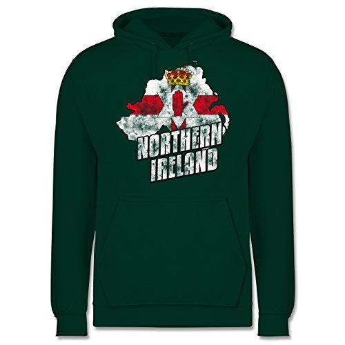 EM 2016 - Frankreich - Northern Ireland Umriss Vintage - Männer Premium Kapuzenpullover / Hoodie Dunkelgrün