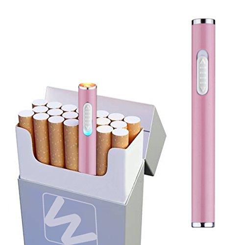 LorWing Mini-Elektro-Feuerzeug Usb Wiederaufladbare Winddichte Flammenlose Sicherheit Feuerzeug Portable F&uumlR Zigarren Mit Geschenk-Box ( Rosa )