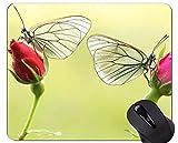 Yanteng Alfombrillas de ratón Antideslizantes, Caucho Natural, rectángulo, Alfombrillas de ratón, Mariposa Macro Animal Rosa - Bordes cosidos