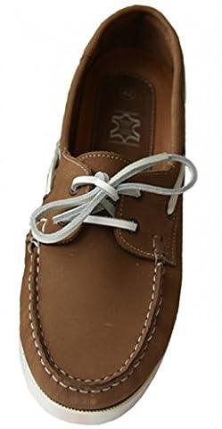 Beverly Originals Chaussures Bateau Cuir Homme Men's Casual Skipper, Couleur:brun, Taille:42