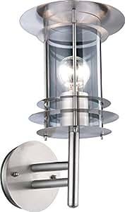 Lampe extérieure acier affiné, polycarbonate, clair IP44, LxH:235x350, excl. 1xE27 60W 230V