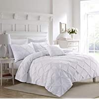 Fixtex Luxury White Pinch Pleat Pintuck King Bed Duvet Cover Set with Pillow Cases includes Complementary Pintuck Cushion Cover
