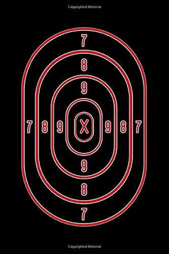 Journal: Shooting Range Target Practice Sheet Red Bullseye Black Lined Notebook Writing Diary - 120 Pages 6 x 9