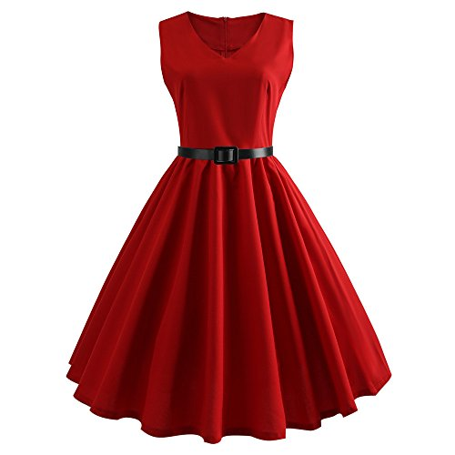 Cramberdy Kleider Damen Rockabilly Kleid Elegante Kleider Lange Kleider Frauen Retro Sommer Festliche Damenkleider Knielang - Damen Vintage Bodycon Ärmellose Abend Party Prom Swing Dress - Womens Cocktail-anzüge