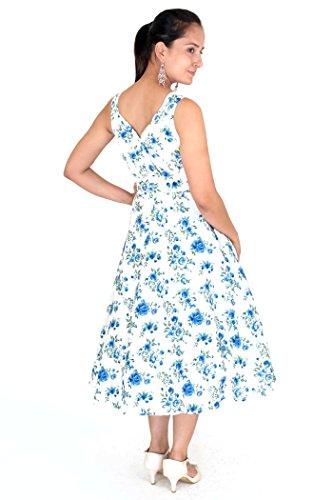 Miss Lavish Damen Cocktail Kleid, Geblümt mehrfarbig Blue-white Blue-White