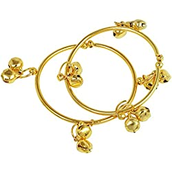 Dzinetrendz Gold covered plain simple ghungroo adorned, adjustable size free size Cuff kada Bangle Nazariya for New born baby child jewellery (0-9 months)