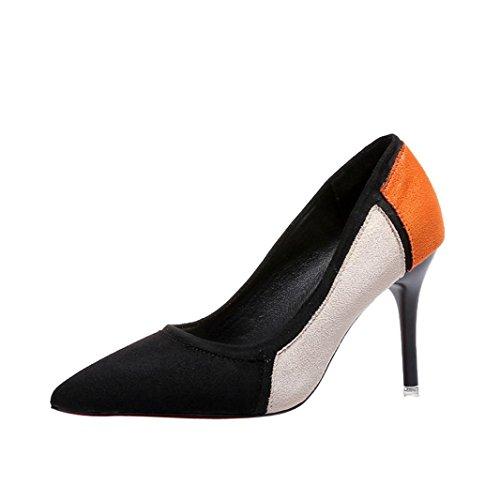 SOMESUN Women's Spring High-Heeled Shoes, Primavera Casual Scarpe A Punta Delle Donne Flock Patchwork Scarpe Col Tacco Alto (39, Black)