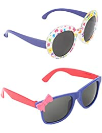 Stol'n Kids Wayfarer And Printed And Bow Sunglasses Combo Pack Of 2 Pieces For Girls/Multicolour And Purple/Blue...