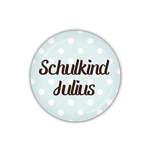 lijelove® Button 38mm Ø DOTS blau, Schulkind mit Wunschname (Art. PBU303)