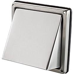Intelmann V2A - Rejilla rectangular con protección contra la intemperie, 100, 125, 150mm, de acero inoxidable