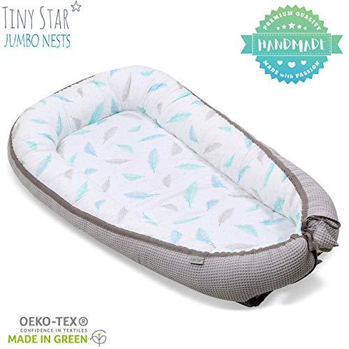 TinyStar: Multifunktionales Babynest Nestchen, Reisebett Für Baby 2 - seitig Kuschelnest 8-36 Monate Plumes & Grey
