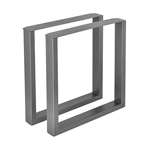 [en.casa]®] 2 x Conjunto de Patas de Mesa - Set de 2X Patas de Mesa - Metal - Patas de los Muebles - 70 x 72 cm - para Mesa de Comedor - Armazón de Mesa - con protección para Suelo - Gris metálico