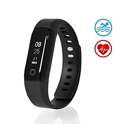 Sharon Fitness Tracker Heart Rate Monitor Waterproof Sauna Swimming Tracker Activity Tracker Smart Bracelet Pedometer Wristband Sleep Monitor Smartwatch | 30 days battery life | Smartphone app for Android and iOS like iPhone 8, iPhone 7, Samsung S7 and S8