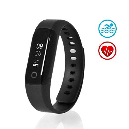 Sharon Fitnessarmband Instant Herzfrequenzmesser Pulsuhr Aktivitäts, Schlaf- und Fitness Tracker | Schrittzähler, Uhrzeitanzeige, Weckfunktion | 30 Tage Akku | Smartphone-App für Android und iOS