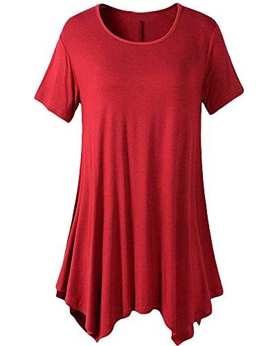Qitun Donna Rétro Girocollo Pieghe Mini Skater A-Line Linea AD A Svasato Dress Vestito Abito Tunica Camicia Rosso