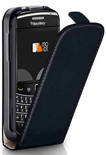 moex® Flip Case mit Magnetverschluss [Rundum-Schutz] passend für BlackBerry Bold 9790 | 360° Handycover aus feinem Premium Kunst-Leder, Schwarz 360 Blackberry